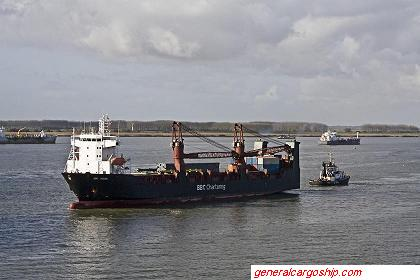 General cargo ship BBC-Kusan mounted with deck cranes