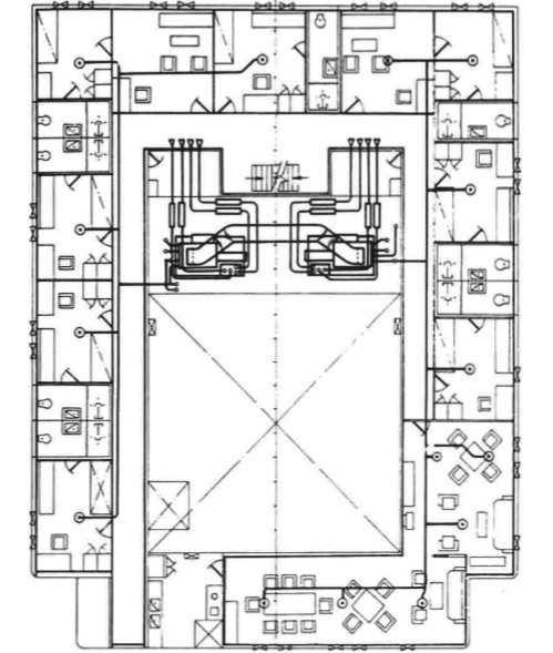 Layout of air conditioning for general cargo ship accommodation