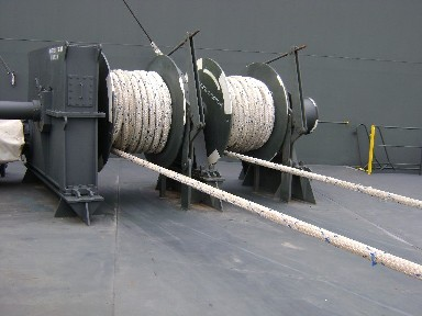 Mooring ropes stowed on drums