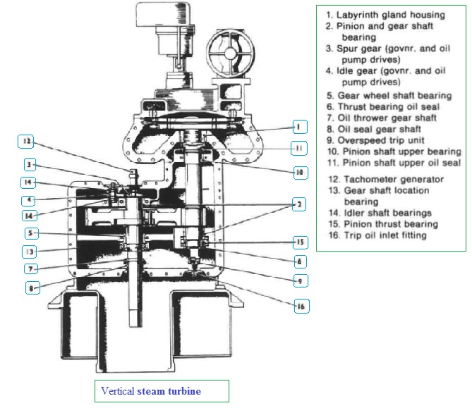 Sectional arrangement of vertical turbine (Peter Brotherhood Ltd.)